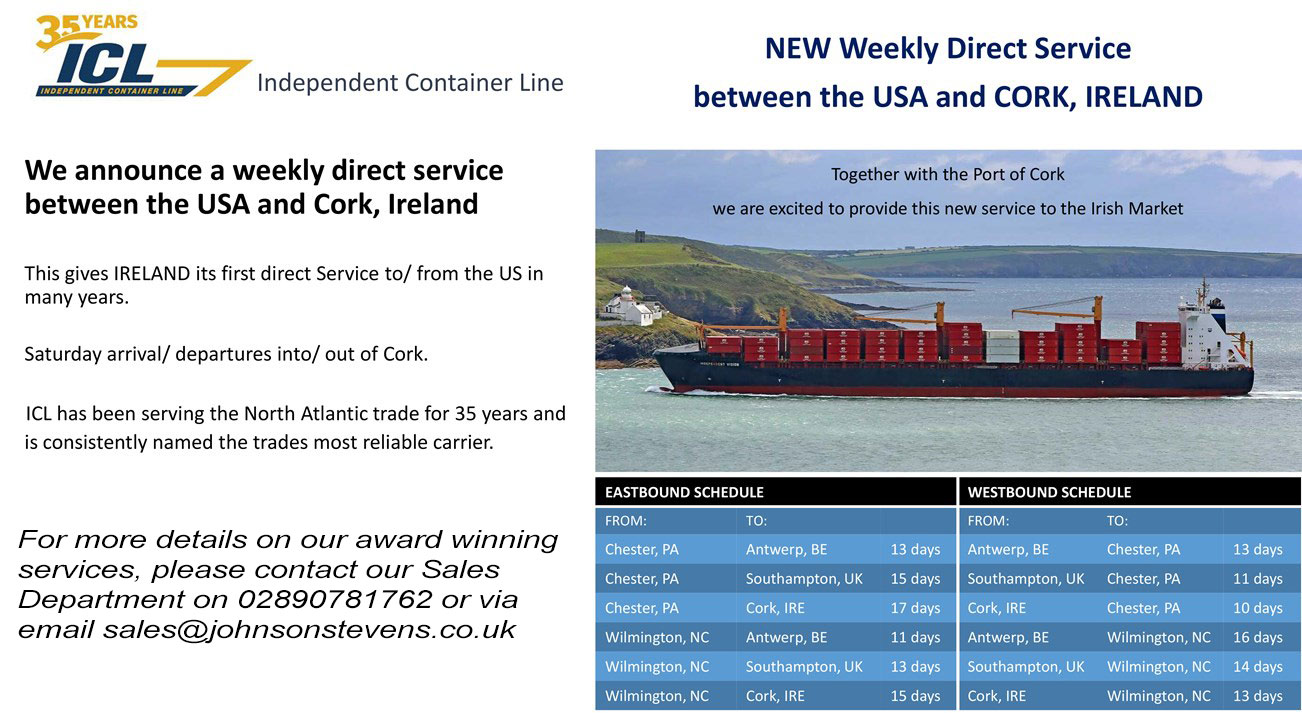 ICL USA Shipping From Cork